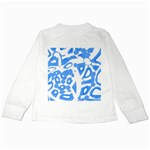 Blue summer design Kids Long Sleeve T-Shirts Back