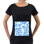 Blue summer design Women s Loose-Fit T-Shirt (Black)