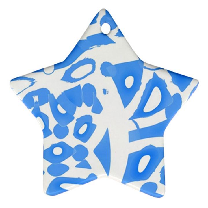 Blue summer design Star Ornament (Two Sides)