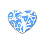 Blue summer design Rubber Coaster (Heart)  Front
