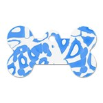 Blue summer design Dog Tag Bone (One Side)