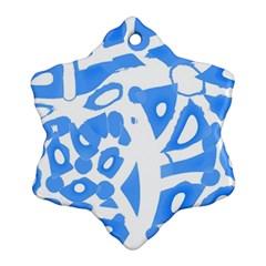 Blue summer design Snowflake Ornament (2-Side)