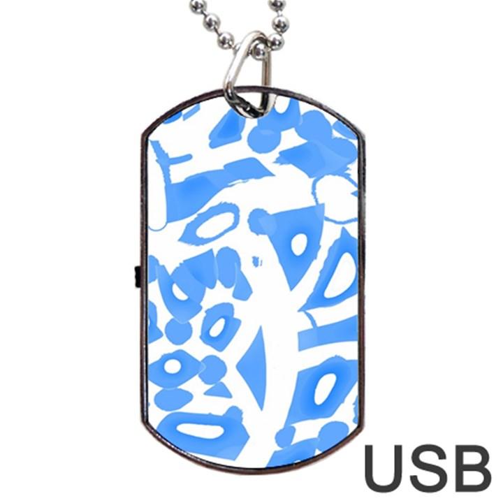 Blue summer design Dog Tag USB Flash (Two Sides)