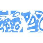 Blue summer design Happy Birthday 3D Greeting Card (8x4) Back