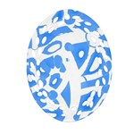 Blue summer design Oval Filigree Ornament (2-Side)
