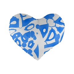 Blue summer design Standard 16  Premium Heart Shape Cushions