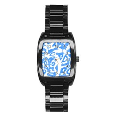 Blue Summer Design Stainless Steel Barrel Watch