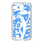 Blue summer design Samsung GALAXY S4 I9500/ I9505 Case (White) Front