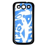 Blue summer design Samsung Galaxy S3 Back Case (Black) Front