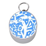 Blue summer design Mini Silver Compasses Front