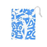 Blue summer design Drawstring Pouches (Medium)