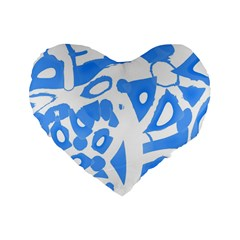 Blue summer design Standard 16  Premium Flano Heart Shape Cushions