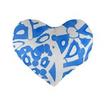 Blue summer design Standard 16  Premium Flano Heart Shape Cushions