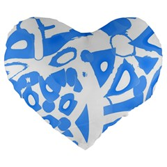 Blue summer design Large 19  Premium Flano Heart Shape Cushions