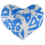 Blue summer design Large 19  Premium Flano Heart Shape Cushions