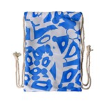 Blue summer design Drawstring Bag (Small)