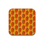 Bugs Eat Autumn Leaf Pattern Rubber Coaster (Square)  Front