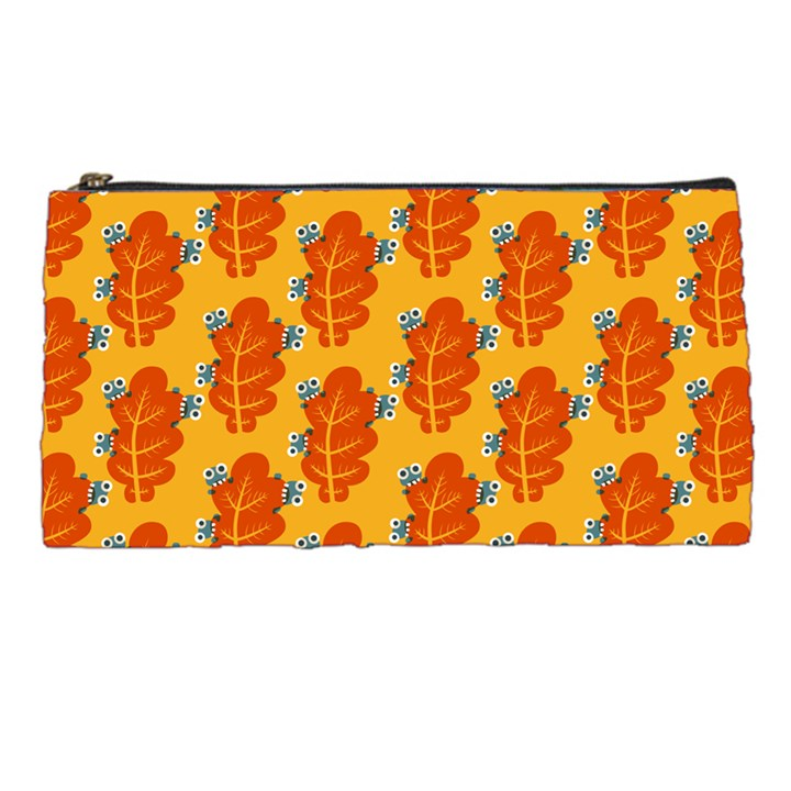 Bugs Eat Autumn Leaf Pattern Pencil Cases