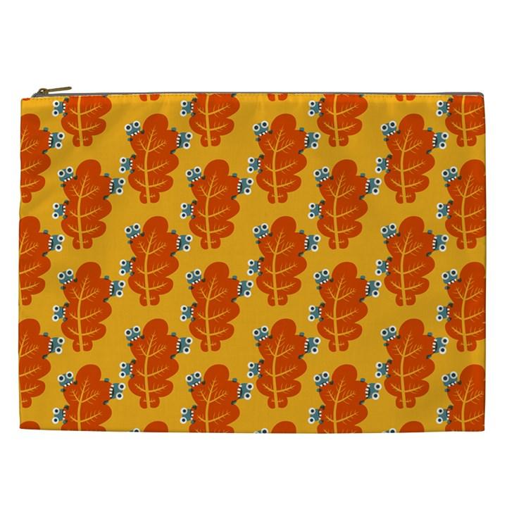 Bugs Eat Autumn Leaf Pattern Cosmetic Bag (XXL)