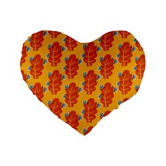 Bugs Eat Autumn Leaf Pattern Standard 16  Premium Heart Shape Cushions