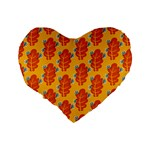 Bugs Eat Autumn Leaf Pattern Standard 16  Premium Heart Shape Cushions Back