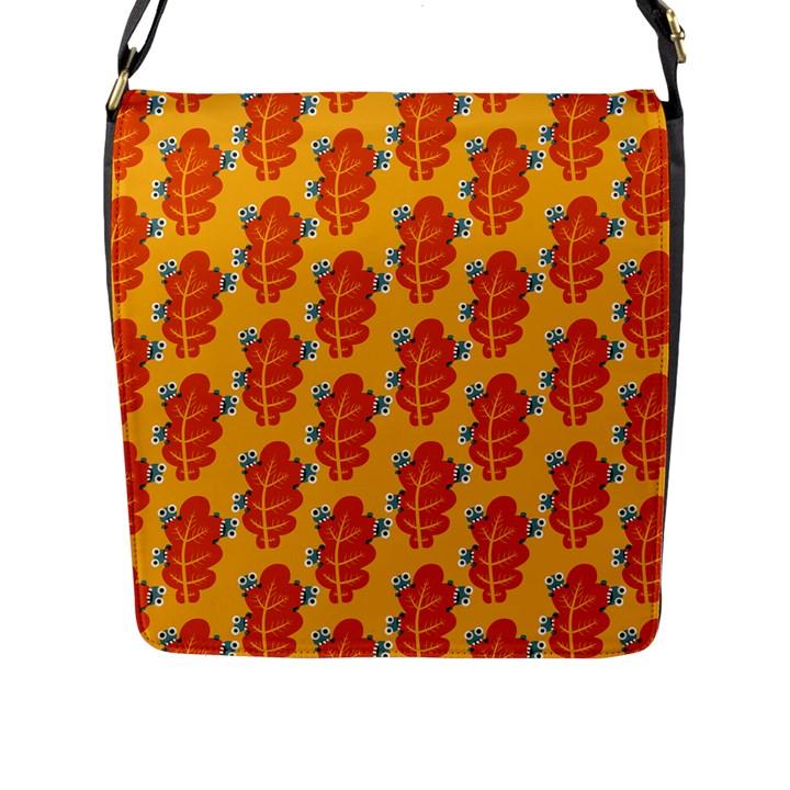 Bugs Eat Autumn Leaf Pattern Flap Messenger Bag (L)
