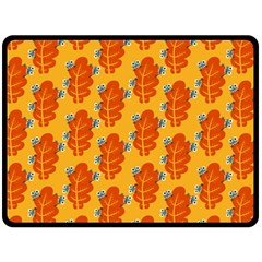 Bugs Eat Autumn Leaf Pattern Double Sided Fleece Blanket (large)  by CreaturesStore