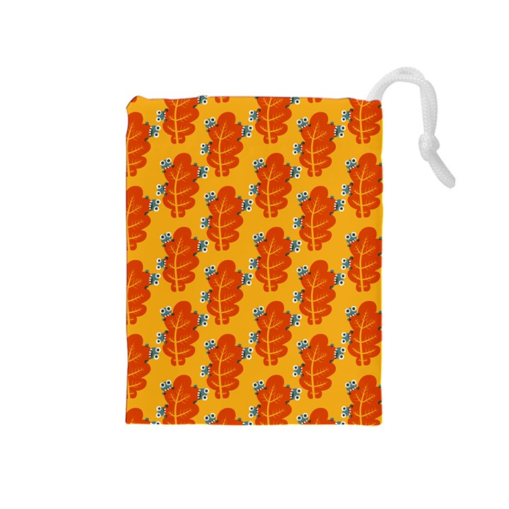Bugs Eat Autumn Leaf Pattern Drawstring Pouches (Medium)
