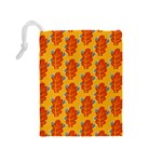 Bugs Eat Autumn Leaf Pattern Drawstring Pouches (Medium)  Back