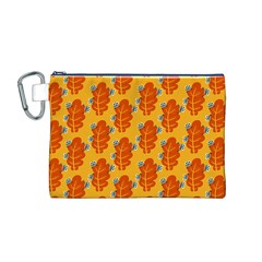Bugs Eat Autumn Leaf Pattern Canvas Cosmetic Bag (m) by CreaturesStore