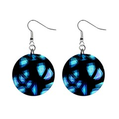 Blue Light Mini Button Earrings