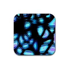 Blue Light Rubber Square Coaster (4 Pack)