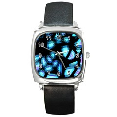 Blue light Square Metal Watch