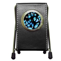 Blue light Pen Holder Desk Clocks