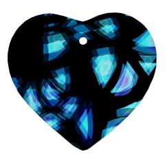 Blue Light Heart Ornament (2 Sides)