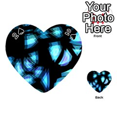 Blue Light Playing Cards 54 (heart)  by Valentinaart