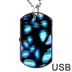 Blue light Dog Tag USB Flash (One Side)
