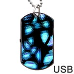 Blue light Dog Tag USB Flash (One Side) Front
