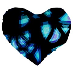 Blue light Large 19  Premium Heart Shape Cushions