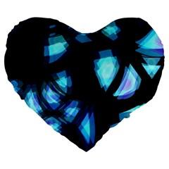 Blue Light Large 19  Premium Heart Shape Cushions