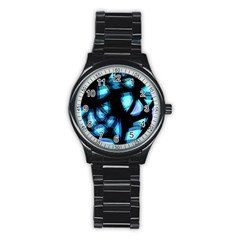 Blue light Stainless Steel Round Watch