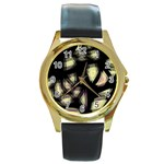 Follow the light Round Gold Metal Watch Front