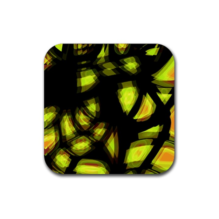 Yellow light Rubber Square Coaster (4 pack)
