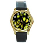 Yellow light Round Gold Metal Watch Front
