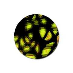 Yellow Light Rubber Coaster (round)  by Valentinaart