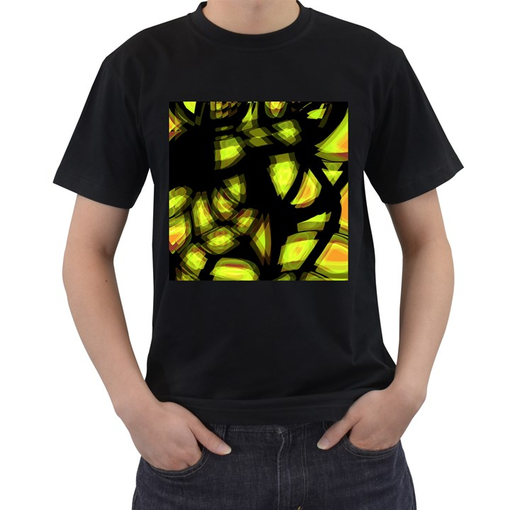 Yellow light Men s T-Shirt (Black) (Two Sided)