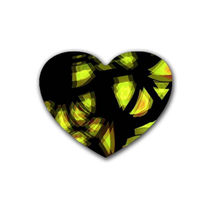 Yellow light Heart Coaster (4 pack)