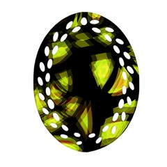 Yellow Light Oval Filigree Ornament (2 Side)