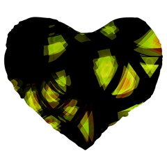 Yellow Light Large 19  Premium Heart Shape Cushions by Valentinaart