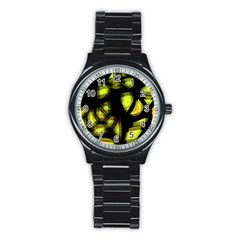 Yellow Light Stainless Steel Round Watch by Valentinaart